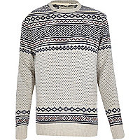 Ecru Jack & Jones Vintage knitted jumper