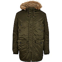 Khaki Jack & Jones Premium parka jacket