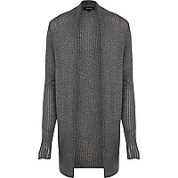 Dark grey mesh knit open front cardigan