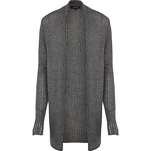 Dark grey mesh knit open front cardigan