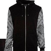 Black bandana print sleeve hoodie