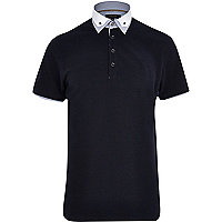 Navy double collar polo shirt
