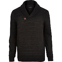Grey shawl neck knitted jumper