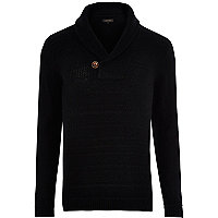 Black shawl neck knitted jumper