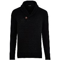 Black shawl neck knitted jumper