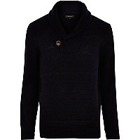 Navy shawl neck knitted jumper