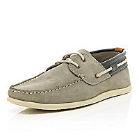 Grey contrast trim boat shoes
