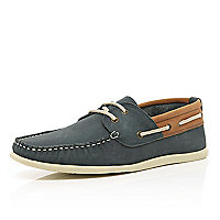 Navy contrast trim boat shoes