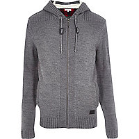 Grey zipped knit cardigan
