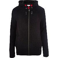 Black zipped knit cardigan