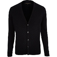 Navy basket weave textured cardigan