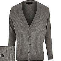 Grey basket weave textured cardigan