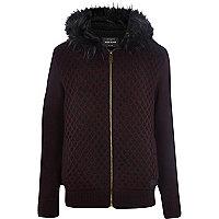 Dark red faux fur hood knitted cardigan