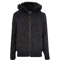 Grey faux fur hood knitted cardigan