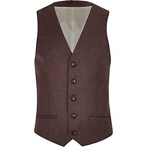 Dark red single breasted waistcoat