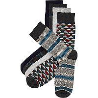 Grey aztec socks pack