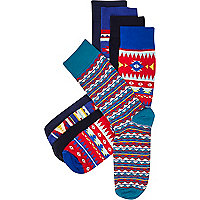 Blue aztec print socks pack