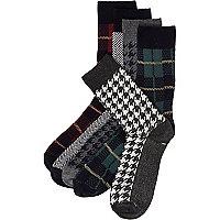 Grey mixed tartan socks pack