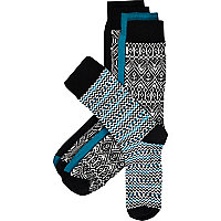 Black geometric print socks pack