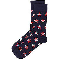 Navy star print socks