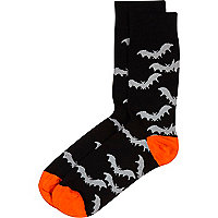 Black halloween bat print socks