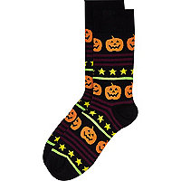 Black halloween pumpkin print socks