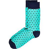 Turquoise polka dot socks