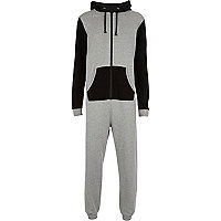 Grey colour block onesie