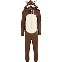 Brown Rudolph reindeer onesie