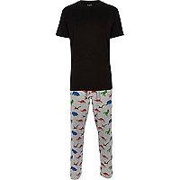 Grey dinosaur print pyjamas set