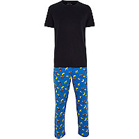 Blue monkey print pyjama set