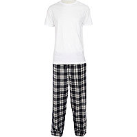 Navy check pyjamas set