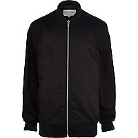 Black longline rib trim bomber jacket