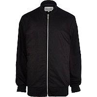 Black longline rib trim bomber jacket