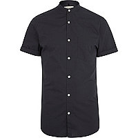 Dark grey short sleeve grandad shirt