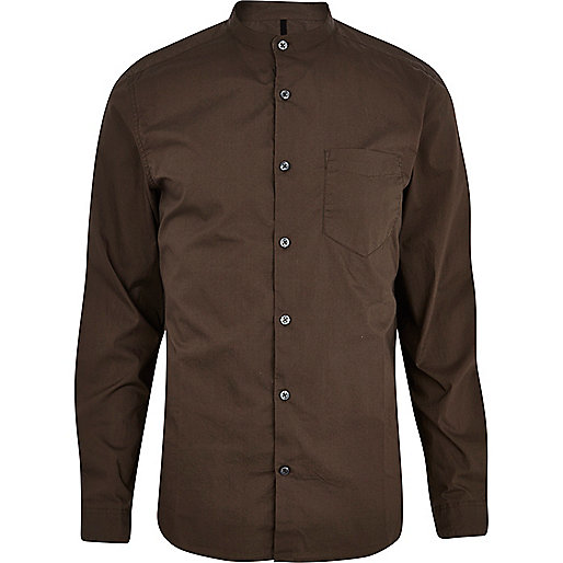 Dark khaki long sleeve grandad shirt