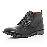 Black leather lace up chukka boots
