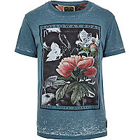 Blue Holloway Road burnout floral t-shirt