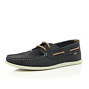 Navy leather contrast lace boat shoes
