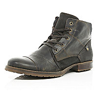 Dark brown contrast panel military boots