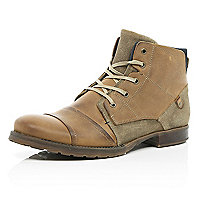 Tan contrast panel military boots