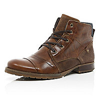 Dark brown leather contrast military boots