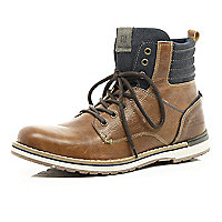 Brown contrast panel military boots