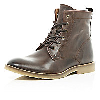 Dark brown leather lace up ankle boots