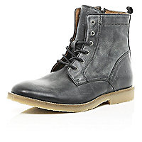 Black crepe sole military boots
