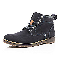 Navy nubuck worker boots