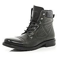 Grey contrast panel lace up military boots