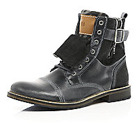 Grey leather distressed boots