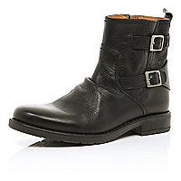 Black leather buckle trim military boots