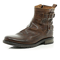 Brown leather buckle trim military boots